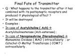 final fate of transmitter