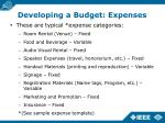 developing a budget expenses