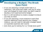 developing a budget the break even point