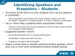 identifying speakers and presenters students