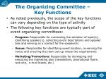 the organizing committee key functions