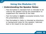 using the modules 3