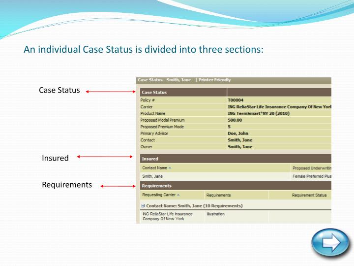 An individual Case Status is divided into three sections: