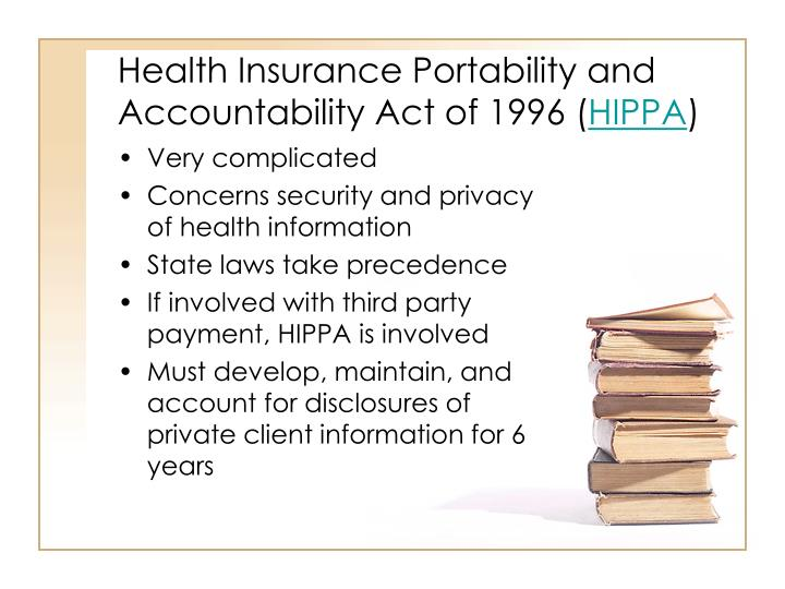 Health Insurance Portability and Accountability Act of 1996 (