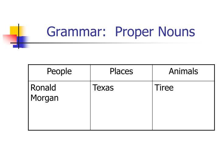Grammar:  Proper Nouns