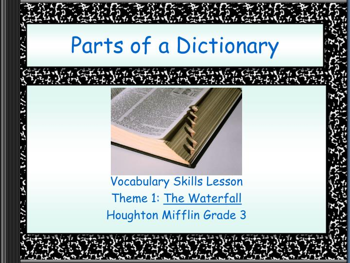 parts of a dictionary n.