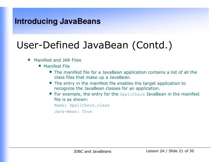 User-Defined JavaBean (Contd.)
