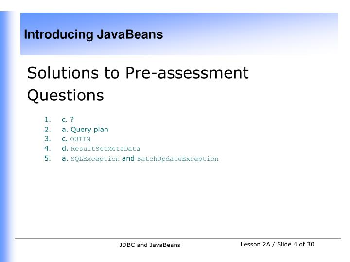 Solutions to Pre-assessment