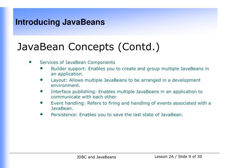 JavaBean Concepts (Contd.)
