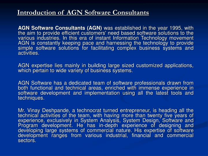 Introduction of AGN Software Consultants