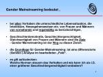 gender mainstreaming bedeutet