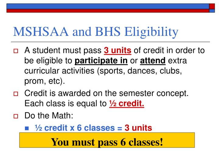 MSHSAA and BHS Eligibility