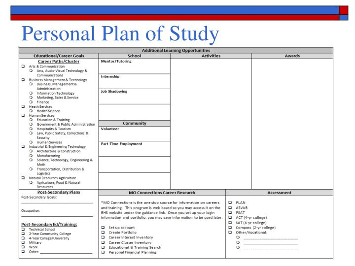 Personal Plan of Study