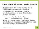 trade in the ricardian model cont1