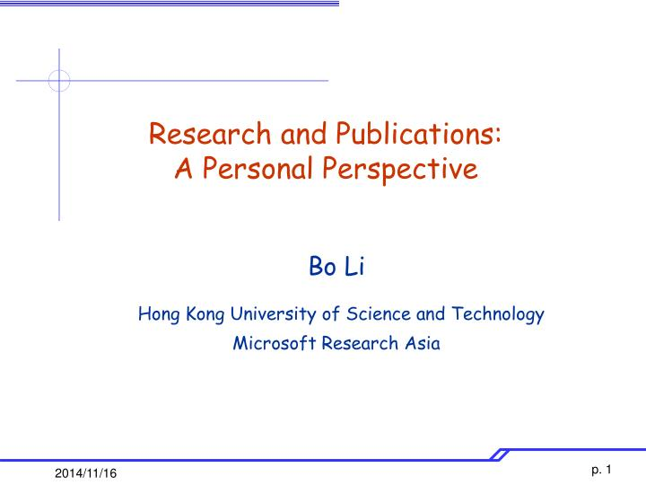research and publications a personal perspective n.