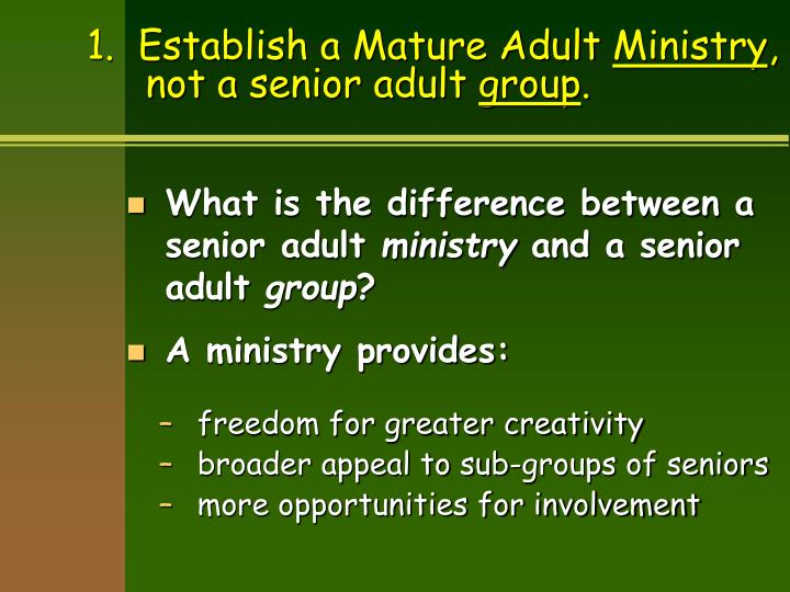 Mature adult ministry