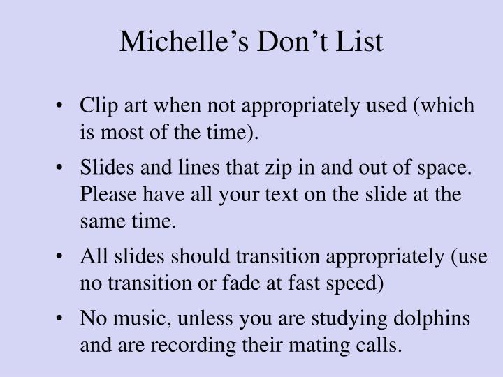 Michelle's Don't List
