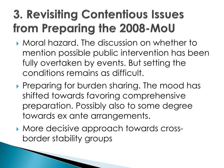3. Revisiting Contentious Issues from Preparing the 2008-MoU