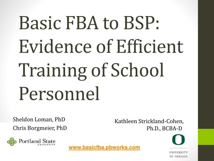basic fba to bsp evidence of efficient training of school personnel n.