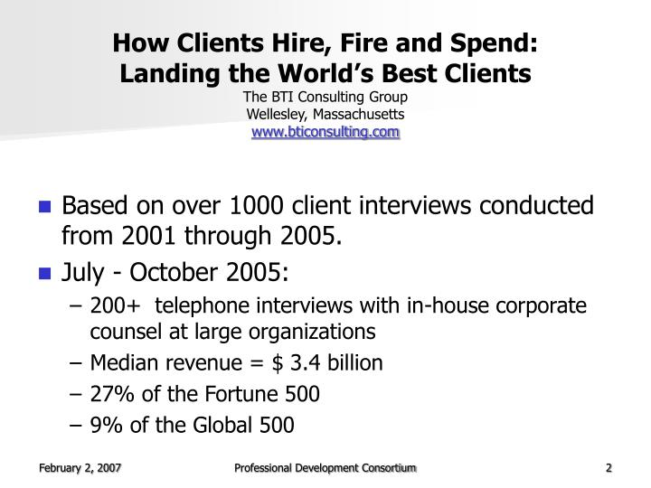 How Clients Hire, Fire and Spend:
