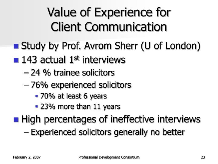 Value of Experience for