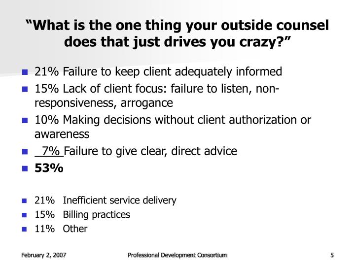 """""""What is the one thing your outside counsel does that just drives you crazy?"""""""