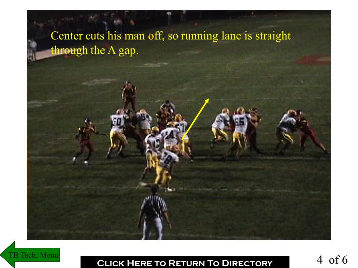Center cuts his man off, so running lane is straight through the A gap.