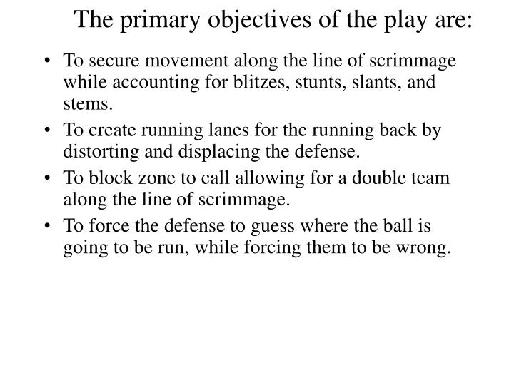 The primary objectives of the play are: