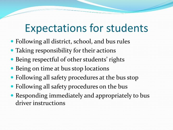 Expectations for students