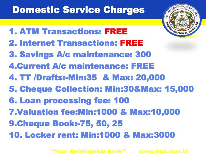 Domestic Service Charges