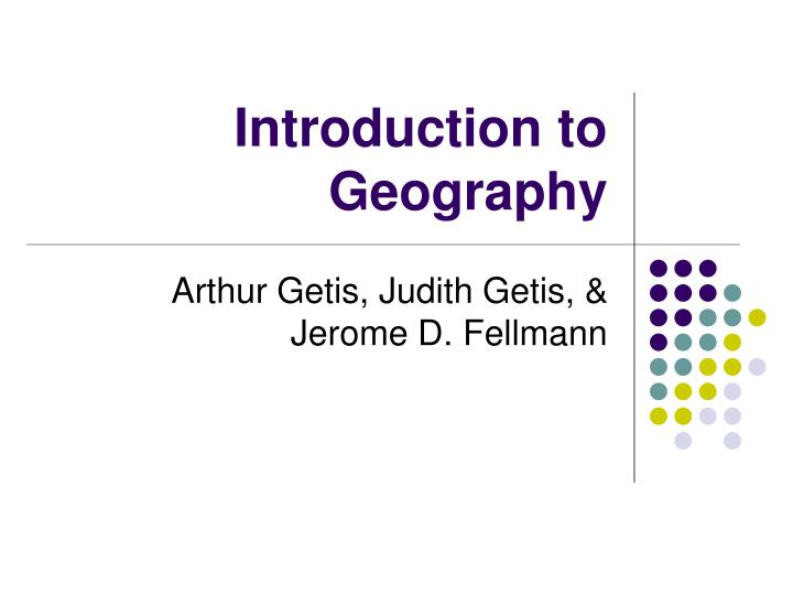 introduction to geography n.