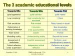 the 3 academic educational levels