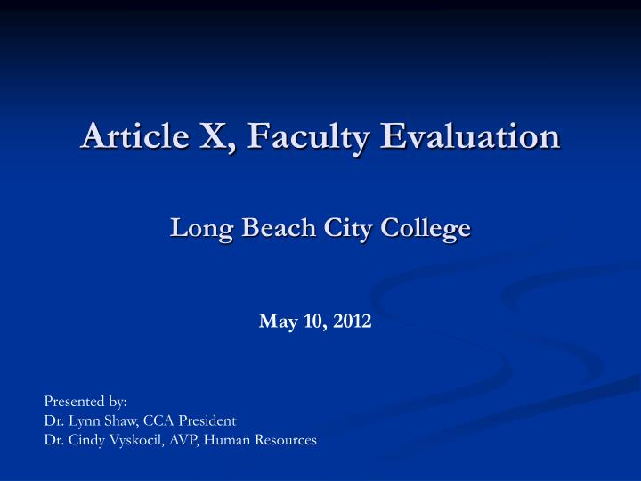 Article x faculty evaluation long beach city college