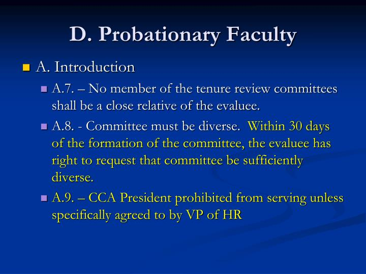 D probationary faculty