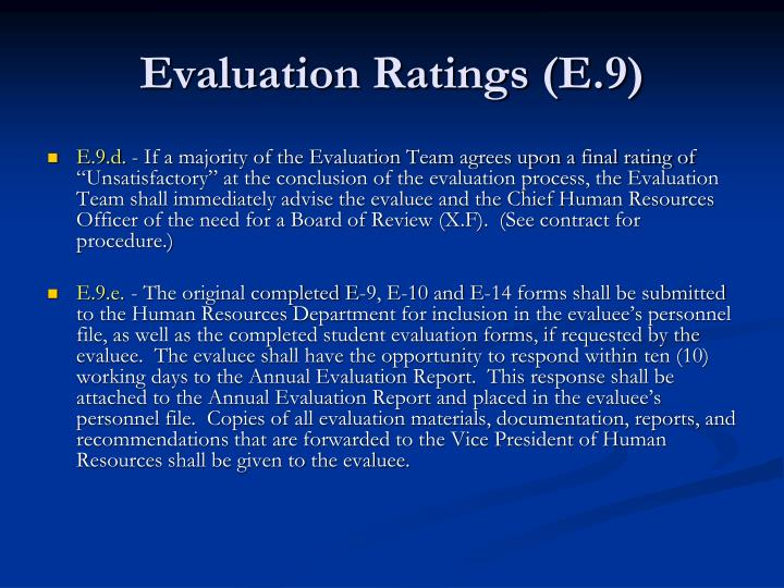Evaluation Ratings (E.9)