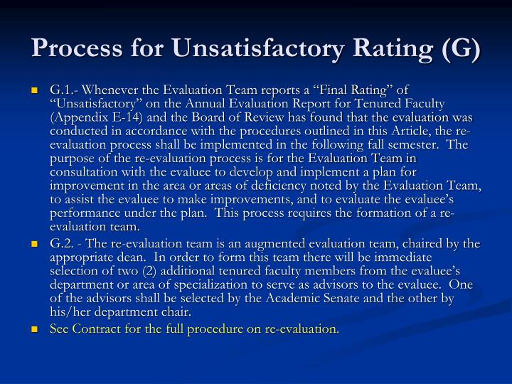 Process for Unsatisfactory Rating (G)