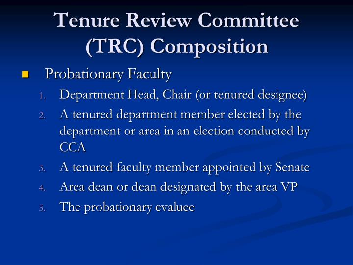 Tenure review committee trc composition