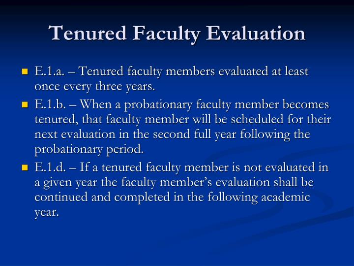 Tenured Faculty Evaluation