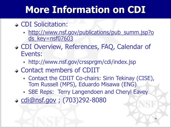 More Information on CDI