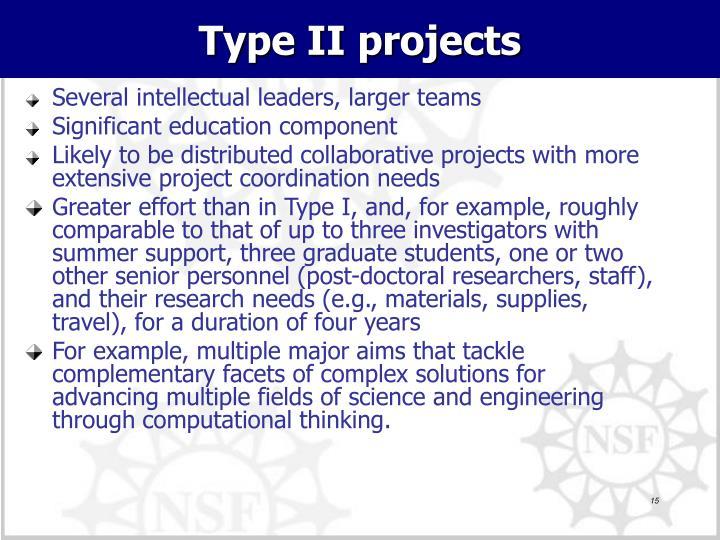 Type II projects