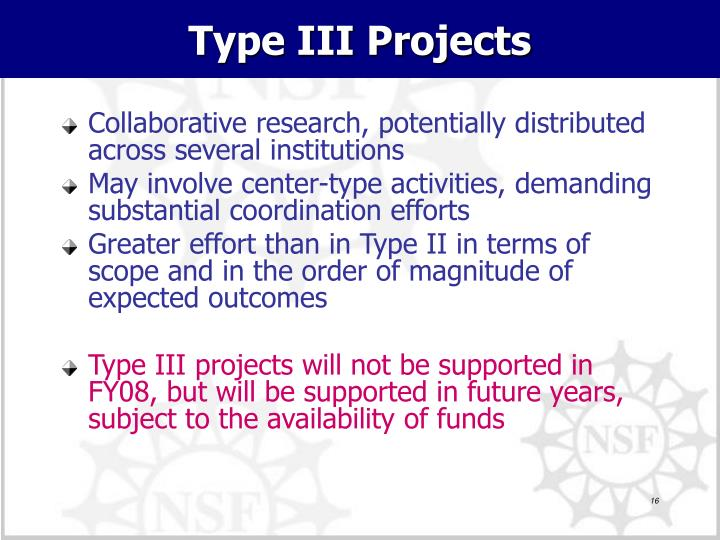 Type III Projects