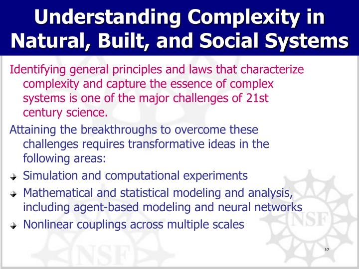 Understanding Complexity in Natural, Built, and Social Systems
