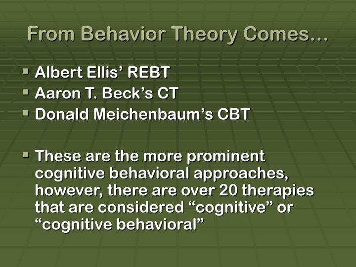 From behavior theory comes