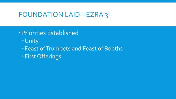 Foundation Laid—Ezra 3