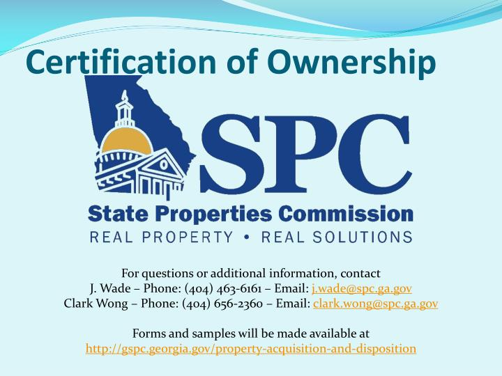 Certification of ownership