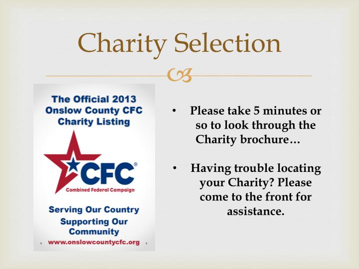 Charity Selection