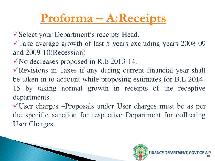 Proforma – A:Receipts