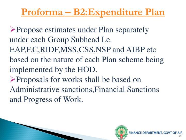 Proforma – B2:Expenditure Plan