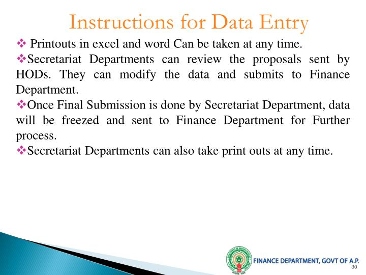 Instructions for Data Entry