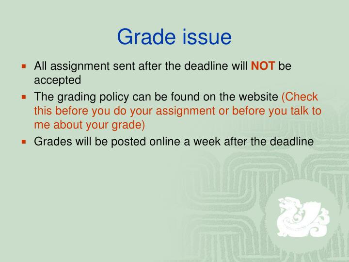 Grade issue